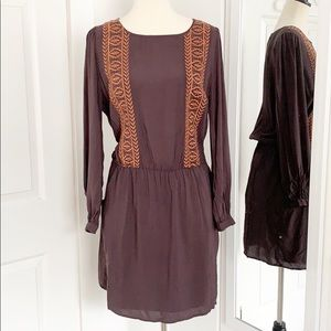 Comme Toi Lrg Brown Long Sleeve Dress w/Pockets